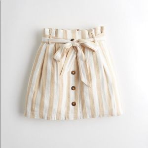 Hollister High Waisted Striped Paperbag Skirt